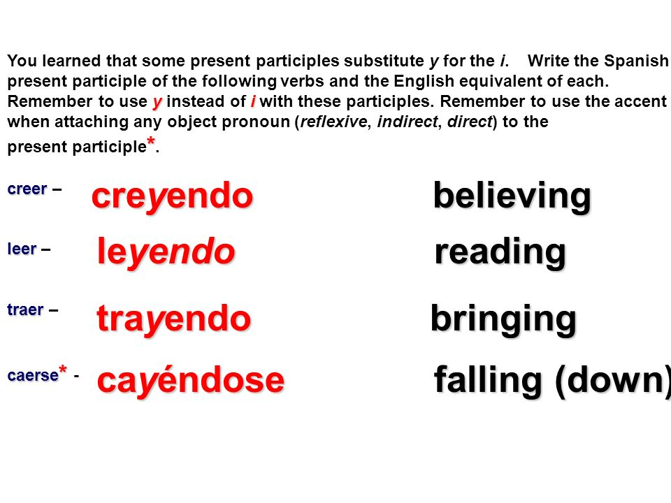 You learned that some present participles substitute y for the i. Write the Spanish present participle of the following verbs and the English equivale