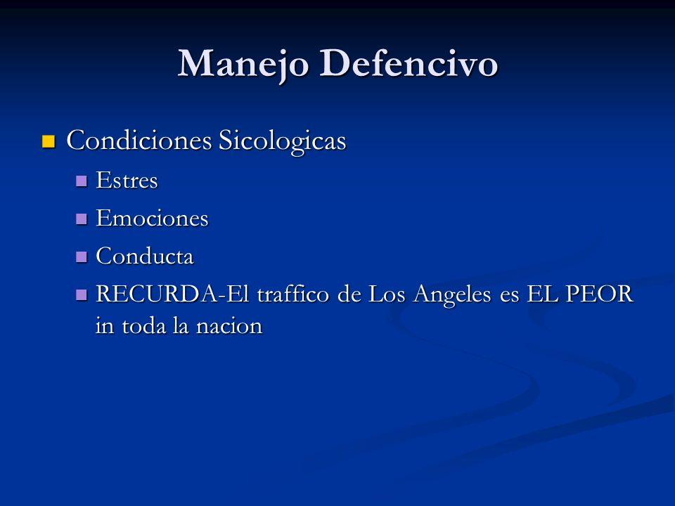 Manejo Defencivo Condiciones Sicologicas Condiciones Sicologicas Estres Estres Emociones Emociones Conducta Conducta RECURDA-El traffico de Los Angele