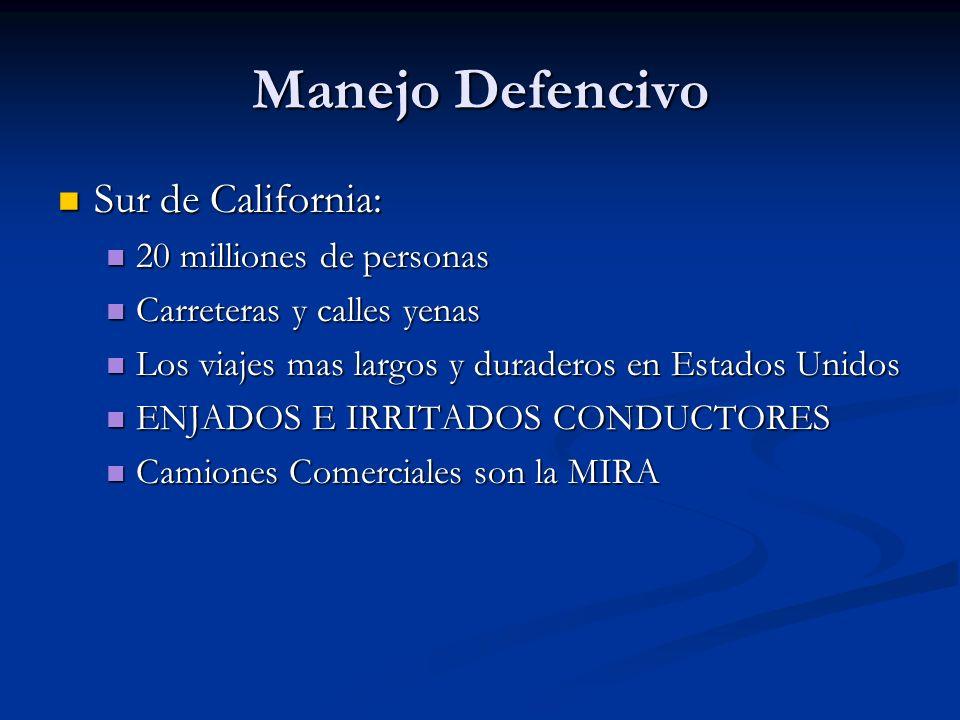 Manejo Defencivo Sur de California: Sur de California: 20 milliones de personas 20 milliones de personas Carreteras y calles yenas Carreteras y calles