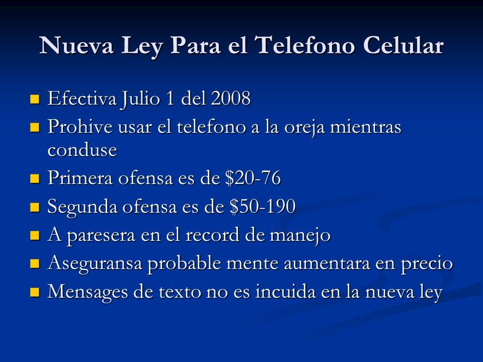 Nueva Ley Para el Telefono Celular Efectiva Julio 1 del 2008 Efectiva Julio 1 del 2008 Prohive usar el telefono a la oreja mientras conduse Prohive us