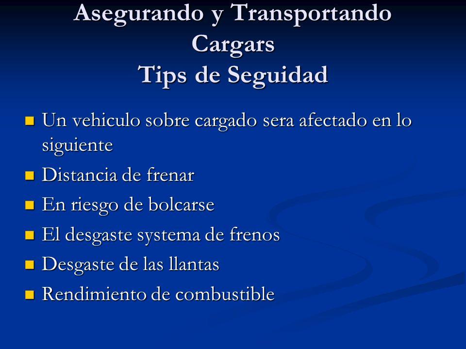 Asegurando y Transportando Cargars Tips de Seguidad Un vehiculo sobre cargado sera afectado en lo siguiente Un vehiculo sobre cargado sera afectado en