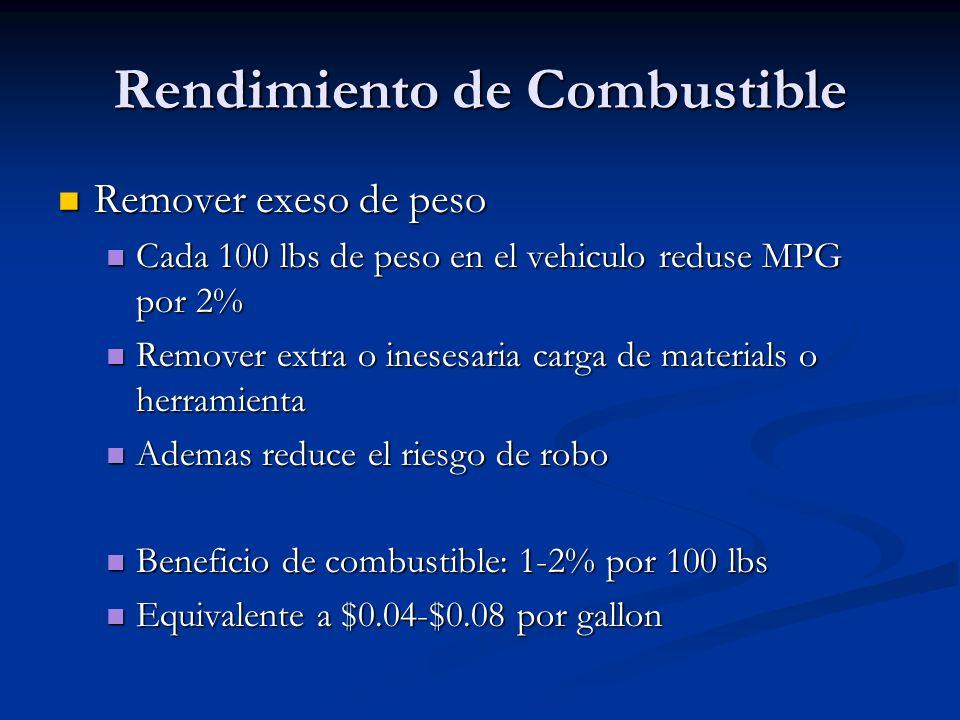 Rendimiento de Combustible Remover exeso de peso Remover exeso de peso Cada 100 lbs de peso en el vehiculo reduse MPG por 2% Cada 100 lbs de peso en e