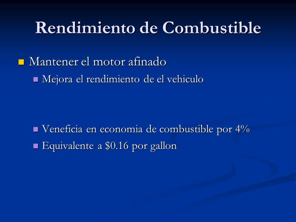 Rendimiento de Combustible Mantener el motor afinado Mantener el motor afinado Mejora el rendimiento de el vehiculo Mejora el rendimiento de el vehicu