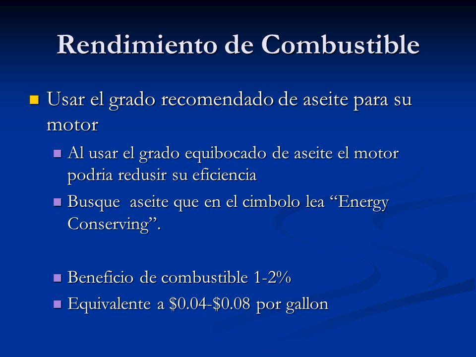 Rendimiento de Combustible Usar el grado recomendado de aseite para su motor Usar el grado recomendado de aseite para su motor Al usar el grado equibo