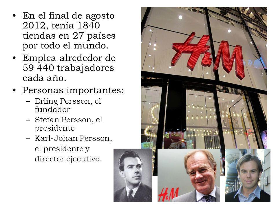 En el final de agosto 2012, tenía 1840 tiendas en 27 países por todo el mundo. Emplea alrededor de 59 440 trabajadores cada año. Personas importantes: