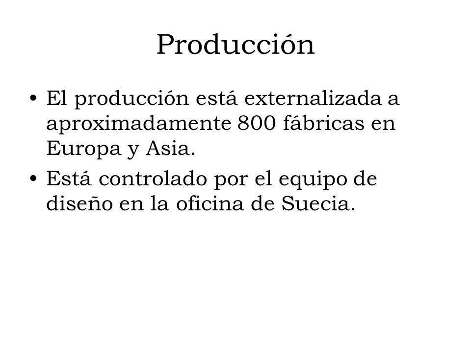Producción El producción está externalizada a aproximadamente 800 fábricas en Europa y Asia. Está controlado por el equipo de diseño en la oficina de