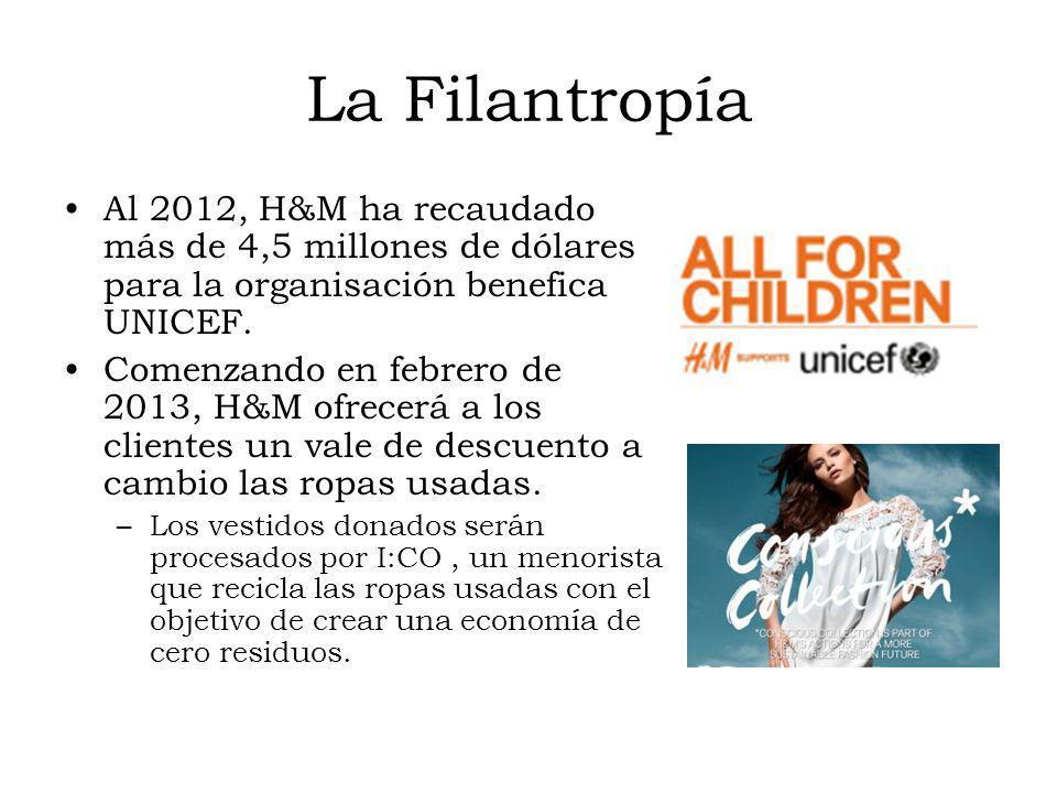 La Filantropía Al 2012, H&M ha recaudado más de 4,5 millones de dólares para la organisación benefica UNICEF. Comenzando en febrero de 2013, H&M ofrec