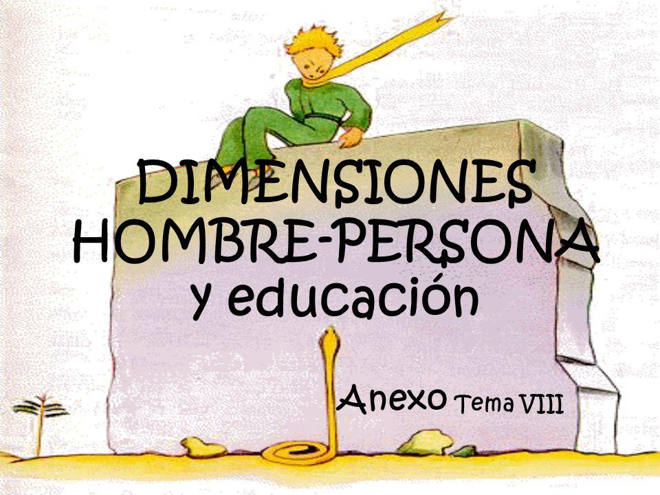 DIMENSIONES HOMBRE-PERSONA y educación Anexo Tema VIII