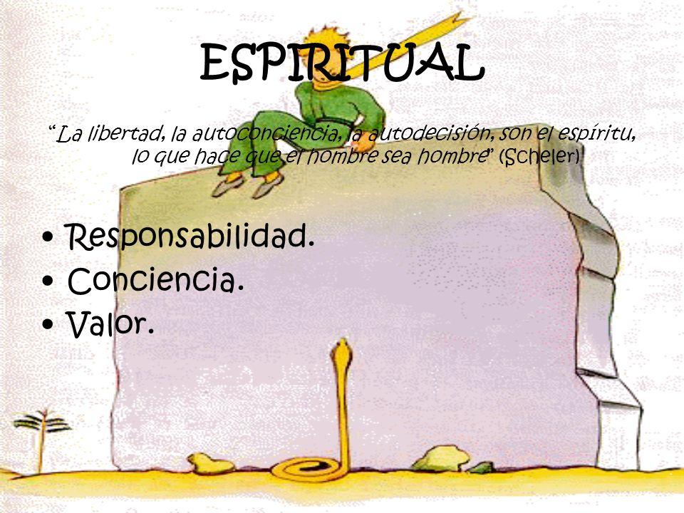 ESPIRITUAL La libertad, la autoconciencia, la autodecisión, son el espíritu, lo que hace que el hombre sea hombre (Scheler) Responsabilidad. Concienci