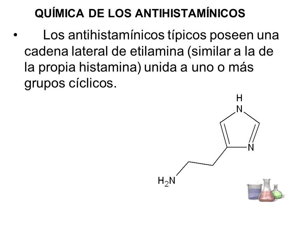 QUÍMICA DE LOS ANTIHISTAMÍNICOS Los antihistamínicos típicos poseen una cadena lateral de etilamina (similar a la de la propia histamina) unida a uno