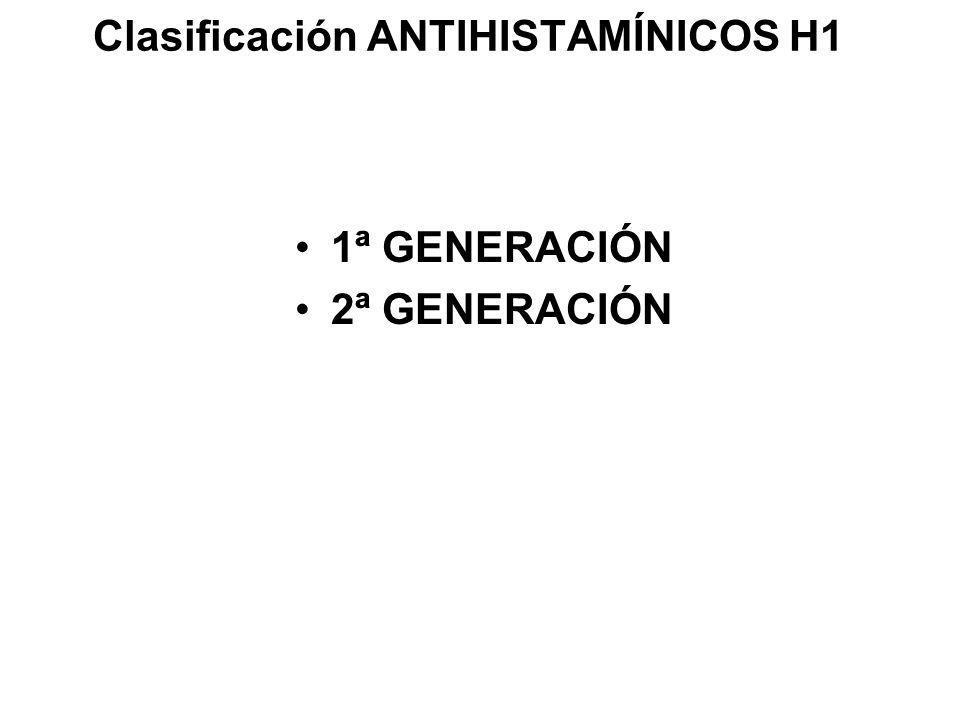 Clasificación ANTIHISTAMÍNICOS H1 1ª GENERACIÓN 2ª GENERACIÓN