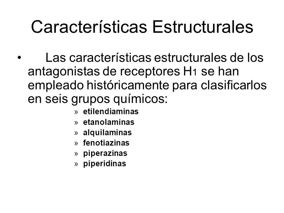 Características Estructurales Las características estructurales de los antagonistas de receptores H 1 se han empleado históricamente para clasificarlo