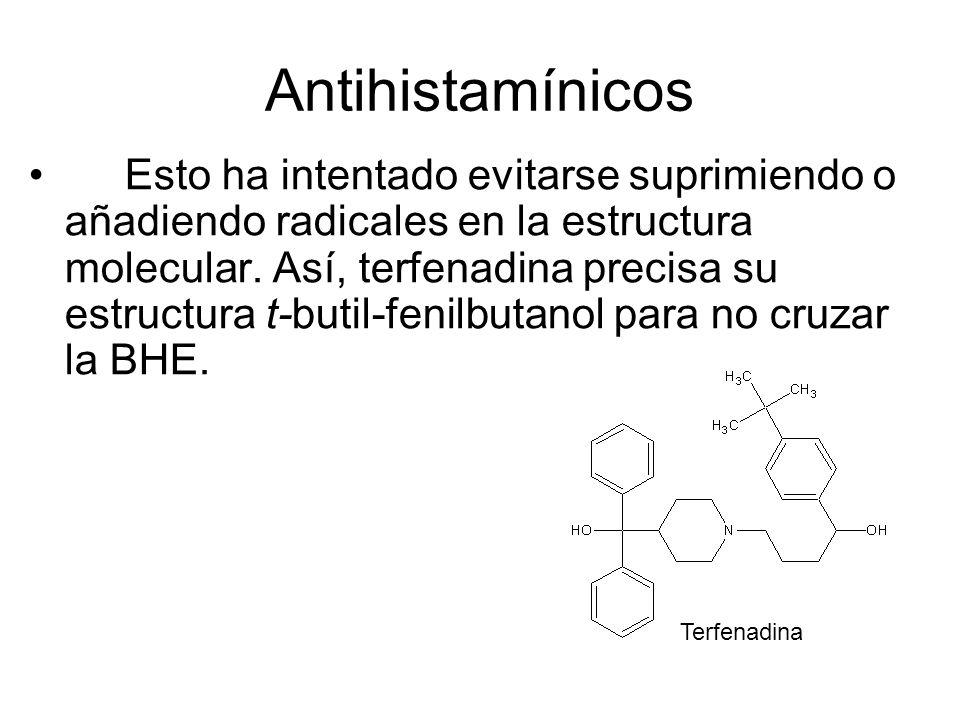 Antihistamínicos Esto ha intentado evitarse suprimiendo o añadiendo radicales en la estructura molecular. Así, terfenadina precisa su estructura t-but