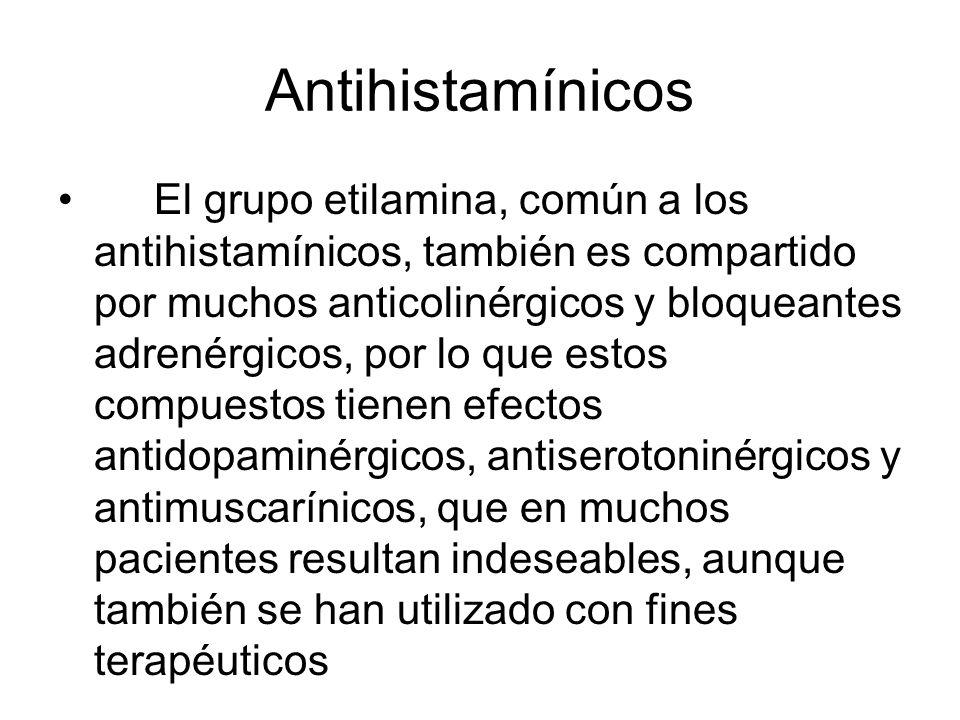 Antihistamínicos El grupo etilamina, común a los antihistamínicos, también es compartido por muchos anticolinérgicos y bloqueantes adrenérgicos, por l