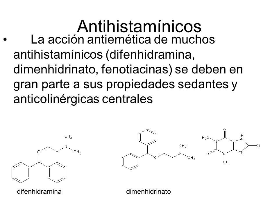 Antihistamínicos La acción antiemética de muchos antihistamínicos (difenhidramina, dimenhidrinato, fenotiacinas) se deben en gran parte a sus propieda