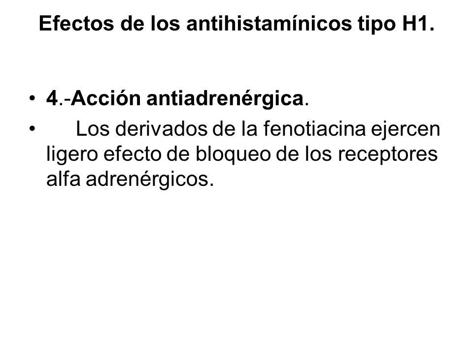 Efectos de los antihistamínicos tipo H1. 4.-Acción antiadrenérgica. Los derivados de la fenotiacina ejercen ligero efecto de bloqueo de los receptores