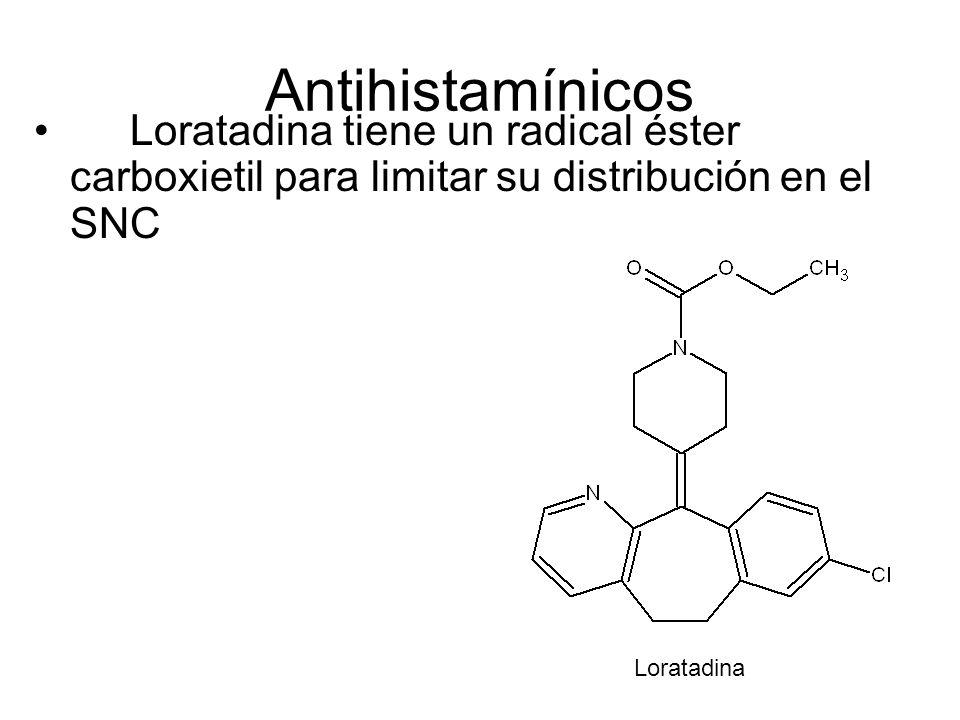 Antihistamínicos Loratadina tiene un radical éster carboxietil para limitar su distribución en el SNC Loratadina