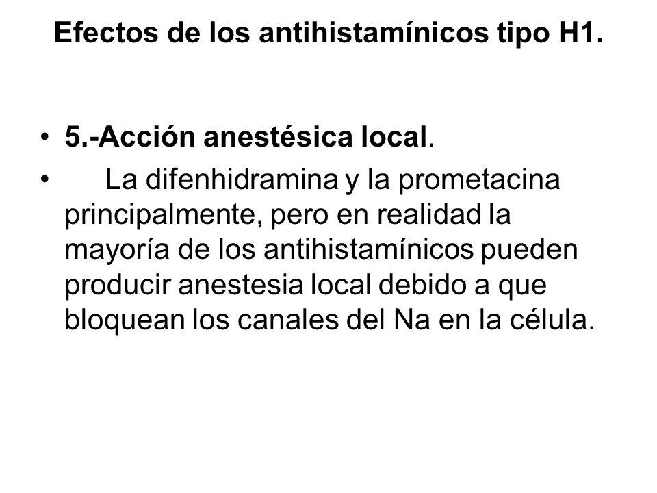 Efectos de los antihistamínicos tipo H1. 5.-Acción anestésica local. La difenhidramina y la prometacina principalmente, pero en realidad la mayoría de