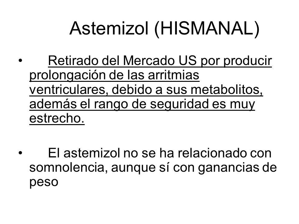 Astemizol (HISMANAL) Retirado del Mercado US por producir prolongación de las arritmias ventriculares, debido a sus metabolitos, además el rango de se