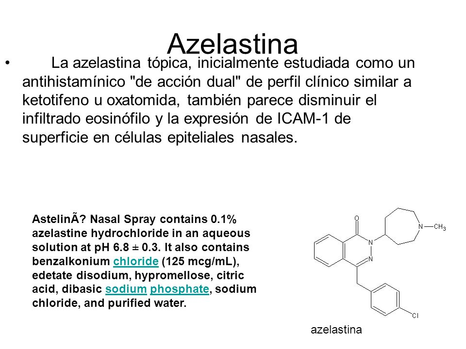 Azelastina Clinical interaction studies with the known CYP3A4 inhibitor erythromycin failed to demonstrate a pharmacokinetic interaction.erythromycin Cimetidine (400 mg twice daily), a nonspecific P450 inhibitor, raised orally administered mean azelastine (4 mg twice daily) concentrations by approximately 65%.