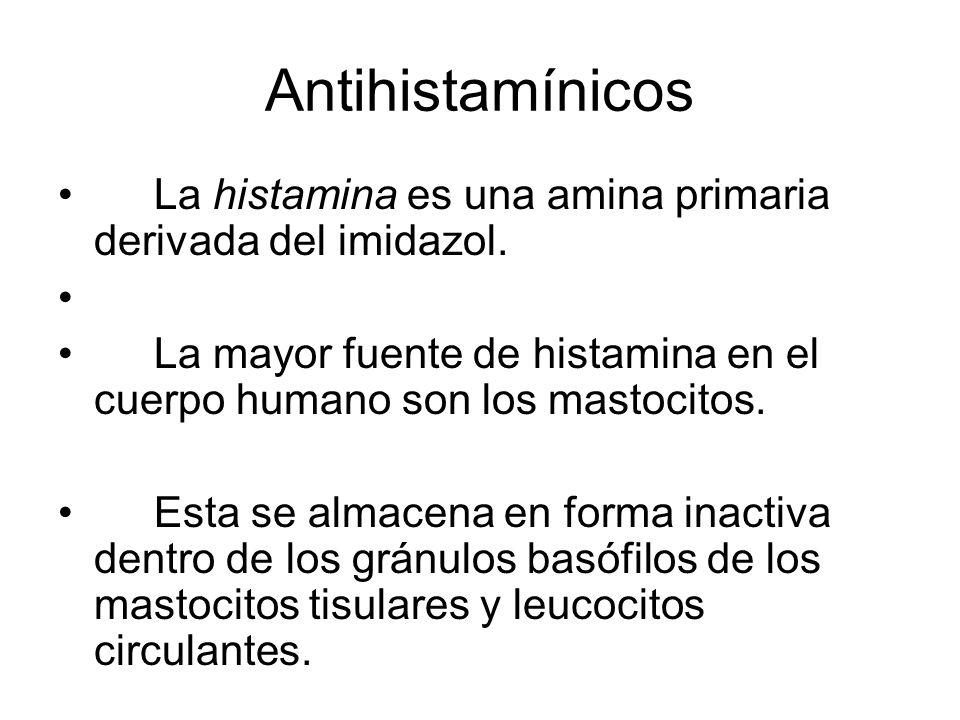 Antihistamínicos La histamina es una amina primaria derivada del imidazol. La mayor fuente de histamina en el cuerpo humano son los mastocitos. Esta s