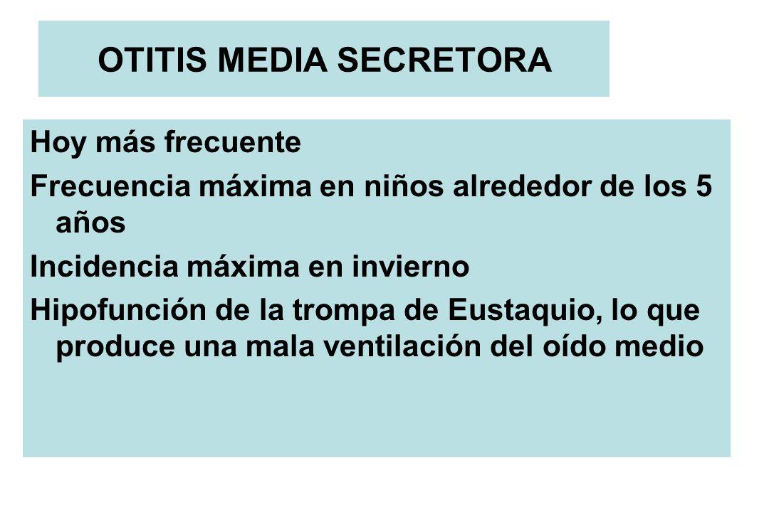 OTITIS MEDIA SECRETORA Hoy más frecuente Frecuencia máxima en niños alrededor de los 5 años Incidencia máxima en invierno Hipofunción de la trompa de