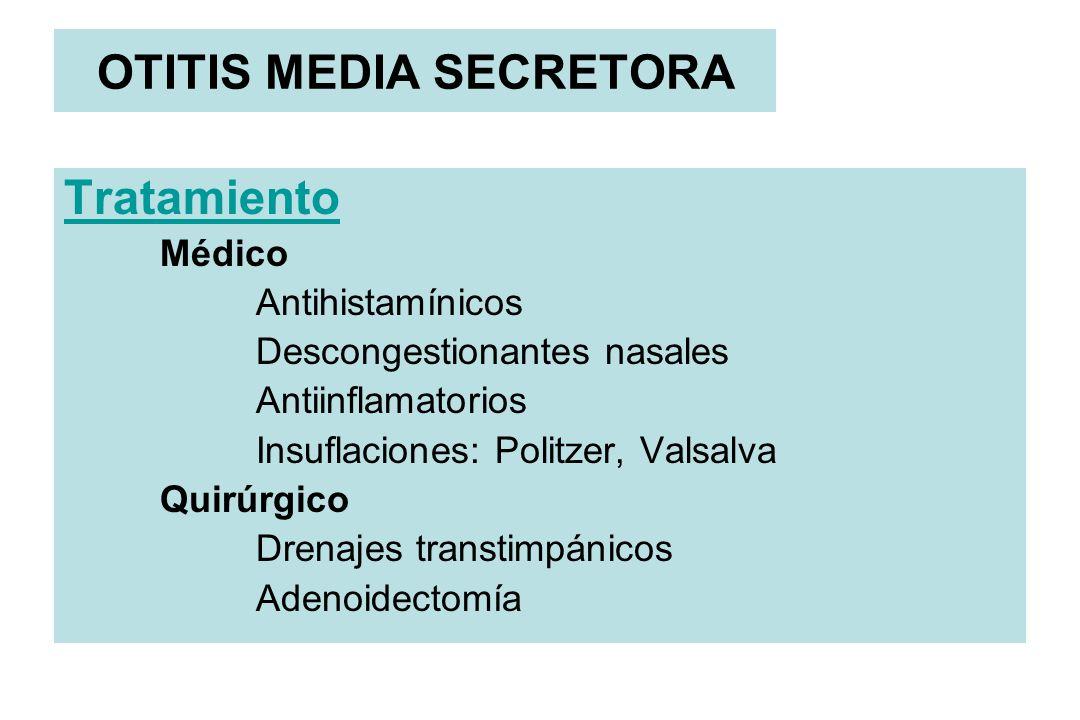 OTITIS MEDIA SECRETORA Tratamiento Médico Antihistamínicos Descongestionantes nasales Antiinflamatorios Insuflaciones: Politzer, Valsalva Quirúrgico D