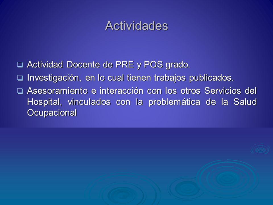 Actividades Actividad Docente de PRE y POS grado. Actividad Docente de PRE y POS grado. Investigación, en lo cual tienen trabajos publicados. Investig