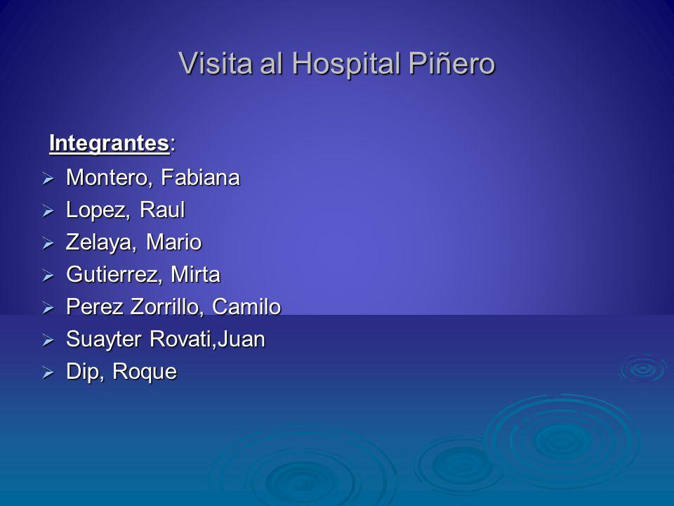 Visita al Hospital Piñero Integrantes: Integrantes: Montero, Fabiana Montero, Fabiana Lopez, Raul Lopez, Raul Zelaya, Mario Zelaya, Mario Gutierrez, M