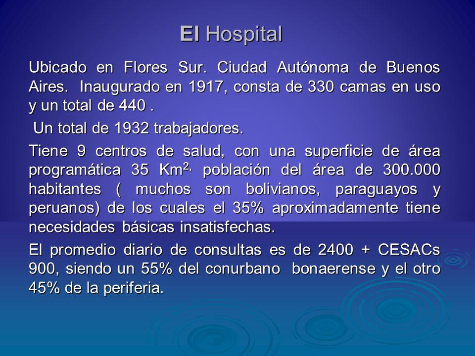 El Hospital Ubicado en Flores Sur. Ciudad Autónoma de Buenos Aires. Inaugurado en 1917, consta de 330 camas en uso y un total de 440. Un total de 1932