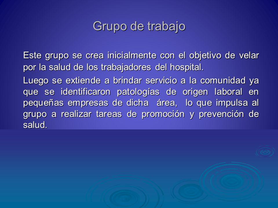 Grupo de trabajo Este grupo se crea inicialmente con el objetivo de velar por la salud de los trabajadores del hospital. Este grupo se crea inicialmen