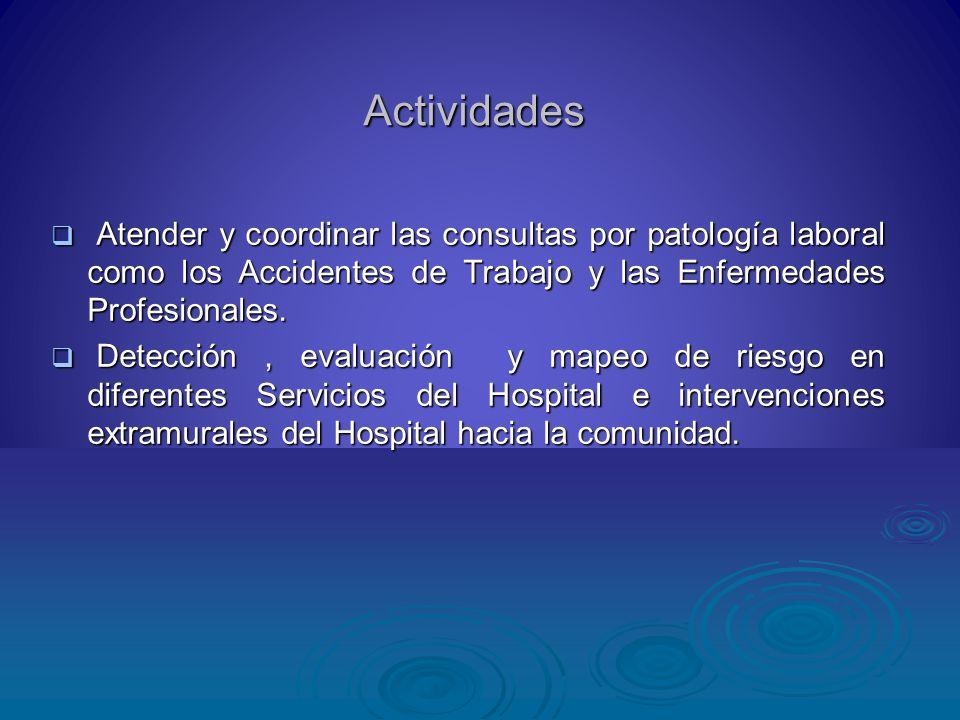 Actividades Atender y coordinar las consultas por patología laboral como los Accidentes de Trabajo y las Enfermedades Profesionales. Atender y coordin