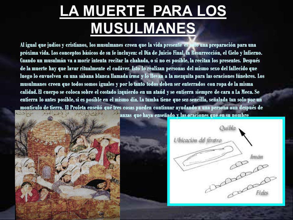 LA MUERTE PARA LOS MUSULMANES Al igual que judíos y cristianos, los musulmanes creen que la vida presente es sólo una preparación para una próxima vid