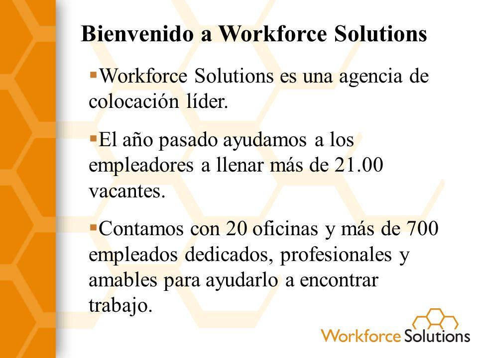 Bienvenido a Workforce Solutions Tenemos computadoras, máquinas de fax, teléfonos y acceso a Internet para ayudarlo en su búsqueda de empleo.