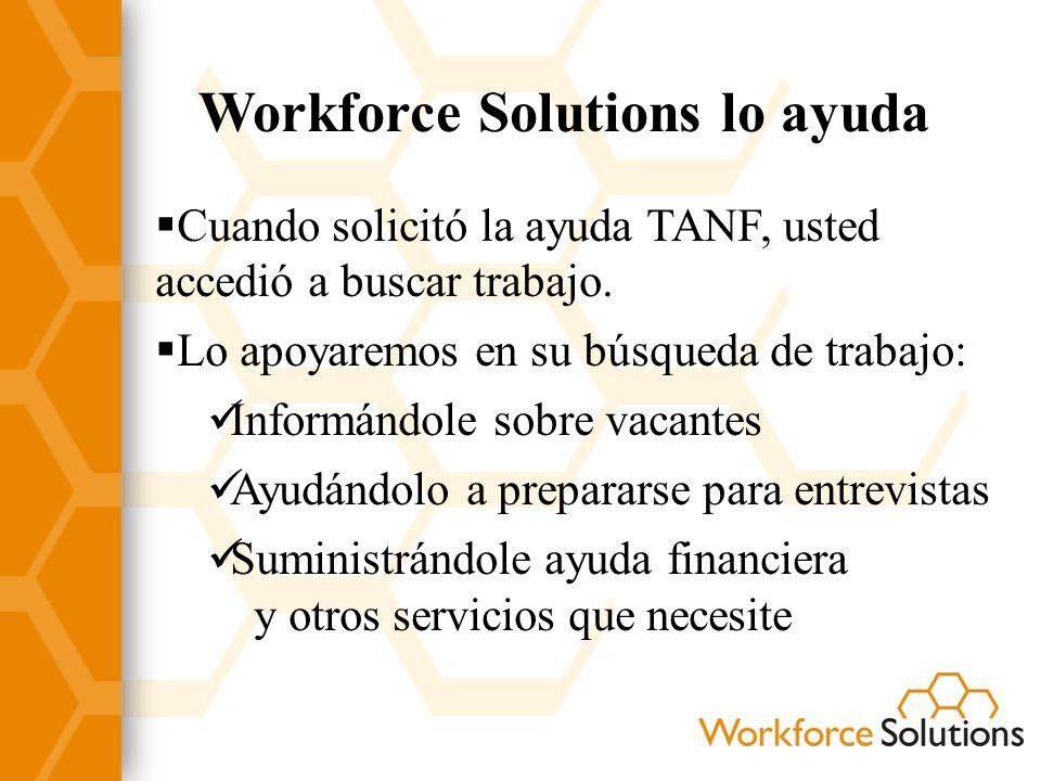 Workforce Solutions lo ayuda Cuando solicitó la ayuda TANF, usted accedió a buscar trabajo. Lo apoyaremos en su búsqueda de trabajo: Informándole sobr