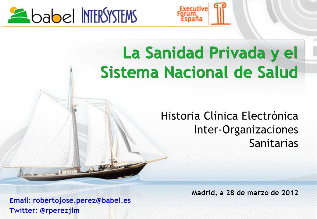 La Sanidad Privada y el Sistema Nacional de Salud Historia Clínica Electrónica Inter-Organizaciones Sanitarias Madrid, a 28 de marzo de 2012 Email: ro