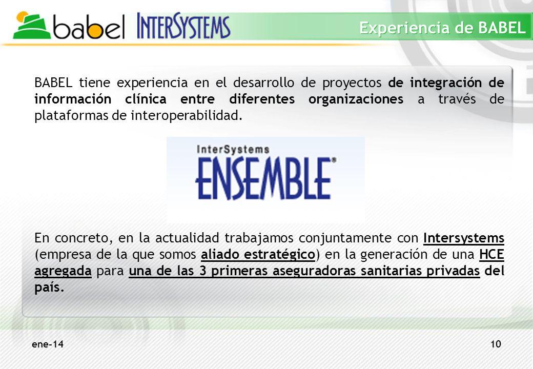 ene-1410 Experiencia de BABEL BABEL tiene experiencia en el desarrollo de proyectos de integración de información clínica entre diferentes organizacio