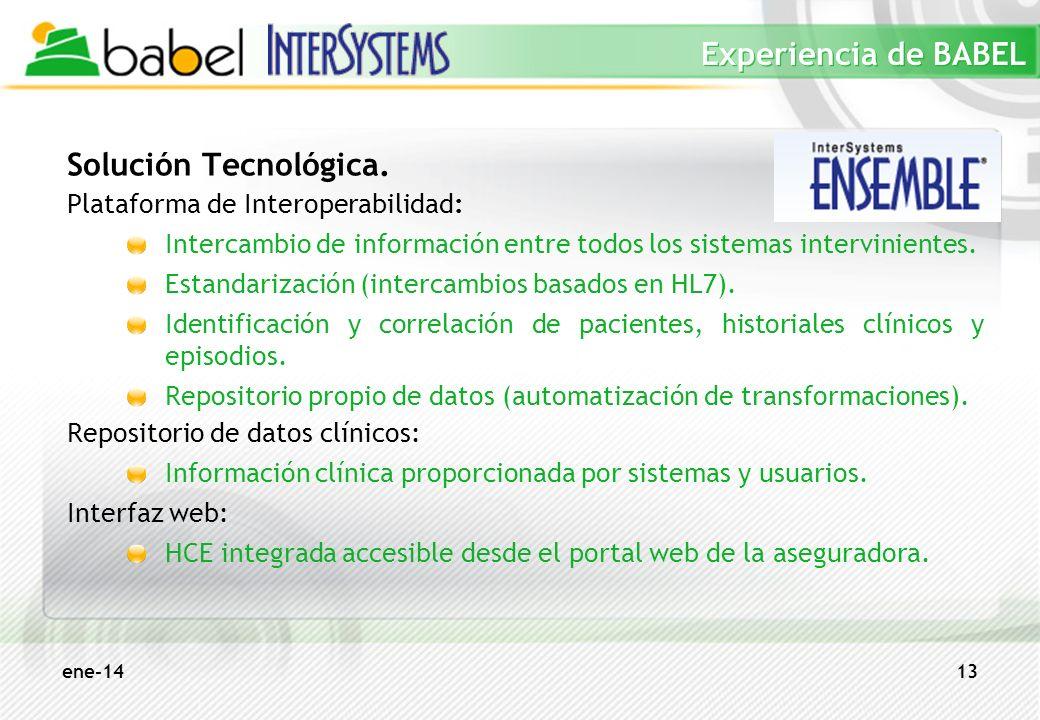 ene-1413 Experiencia de BABEL Solución Tecnológica. Plataforma de Interoperabilidad: Intercambio de información entre todos los sistemas interviniente