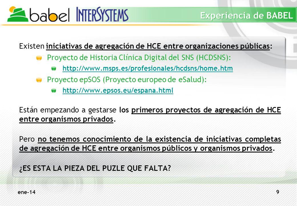 ene-149 Experiencia de BABEL Existen iniciativas de agregación de HCE entre organizaciones públicas: Proyecto de Historia Clínica Digital del SNS (HCD