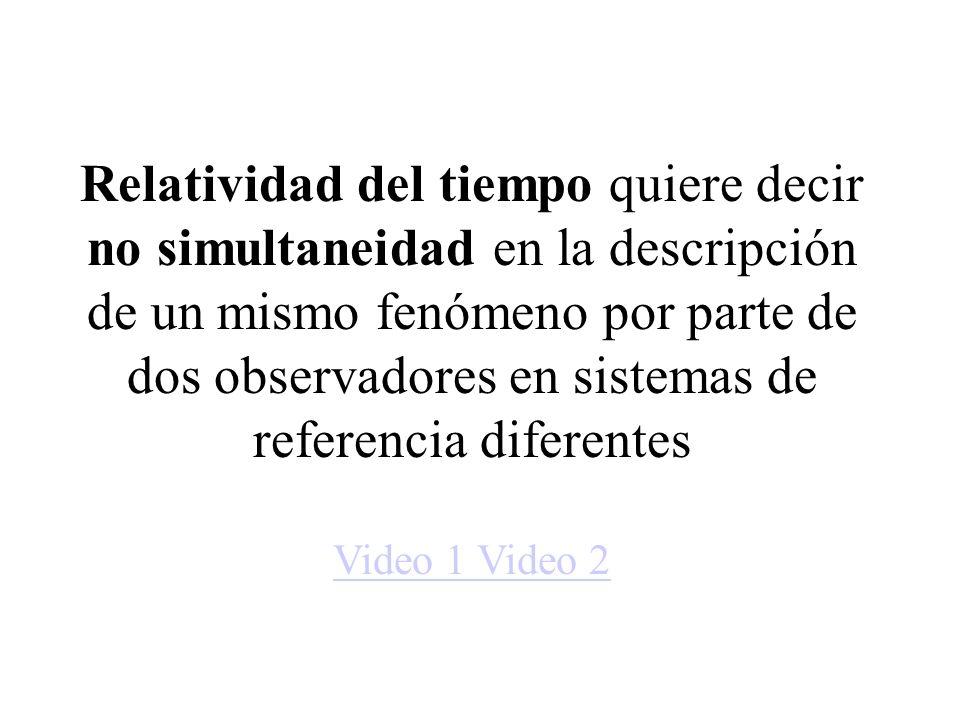 Relatividad del tiempo quiere decir no simultaneidad en la descripción de un mismo fenómeno por parte de dos observadores en sistemas de referencia di