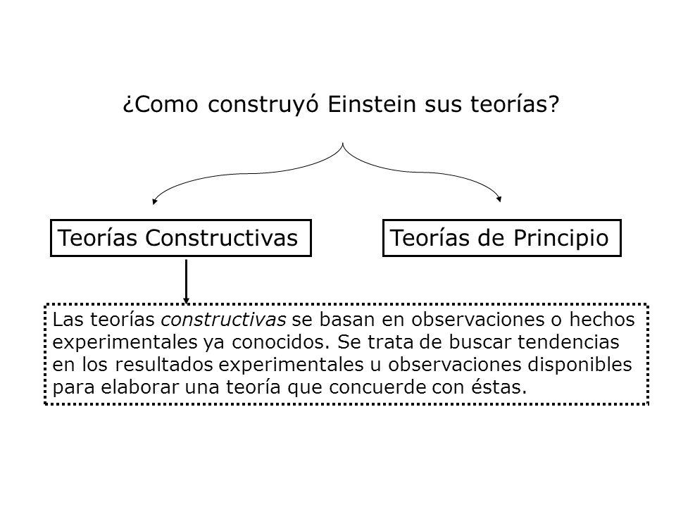 ¿Como construyó Einstein sus teorías? Teorías ConstructivasTeorías de Principio Las teorías constructivas se basan en observaciones o hechos experimen