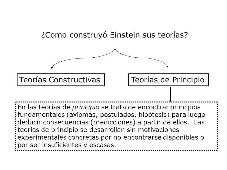 ¿Como construyó Einstein sus teorías? Teorías ConstructivasTeorías de Principio En las teorías de principio se trata de encontrar principios fundament