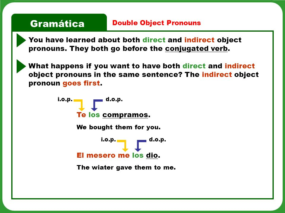 Gramática What happens if you want to have both direct and indirect object pronouns in the same sentence.