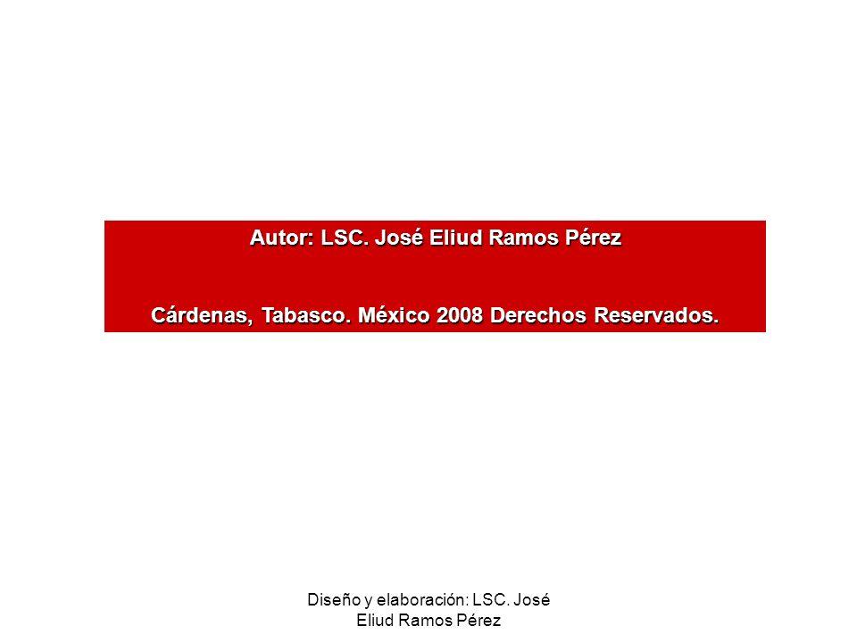 Diseño y elaboración: LSC. José Eliud Ramos Pérez Autor: LSC. José Eliud Ramos Pérez Cárdenas, Tabasco. México 2008 Derechos Reservados.