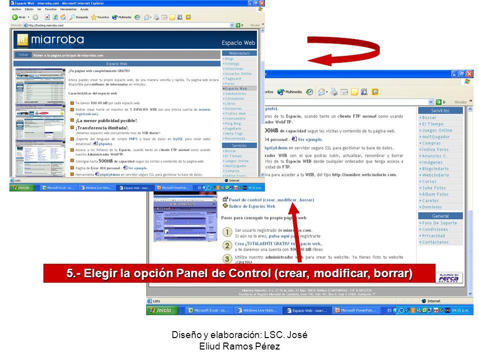 Diseño y elaboración: LSC. José Eliud Ramos Pérez 5.- Elegir la opción Panel de Control (crear, modificar, borrar)