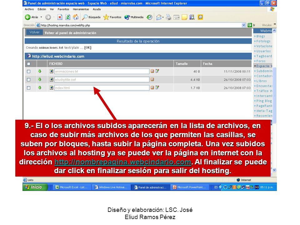 Diseño y elaboración: LSC. José Eliud Ramos Pérez 9.- El o los archivos subidos aparecerán en la lista de archivos, en caso de subir más archivos de l