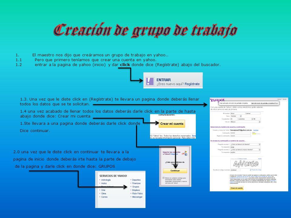 2.1 después de haberle dado click en grupos te llevara a la pagina de grupos de yahoo donde deberás crear tu grupo.