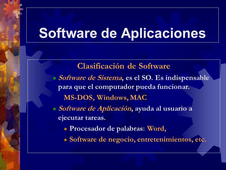 Software de Aplicaciones Clasificación de Software Software de Sistema, es el SO. Es indispensable para que el computador pueda funcionar. MS-DOS, Win
