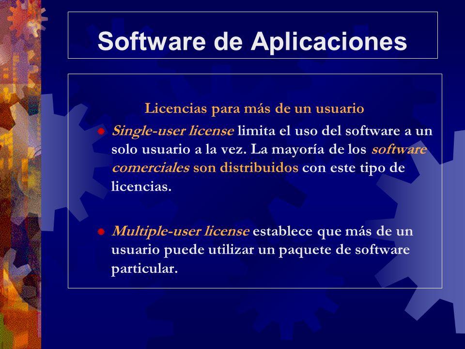 Software de Aplicaciones Licencias para más de un usuario Single-user license limita el uso del software a un solo usuario a la vez. La mayoría de los