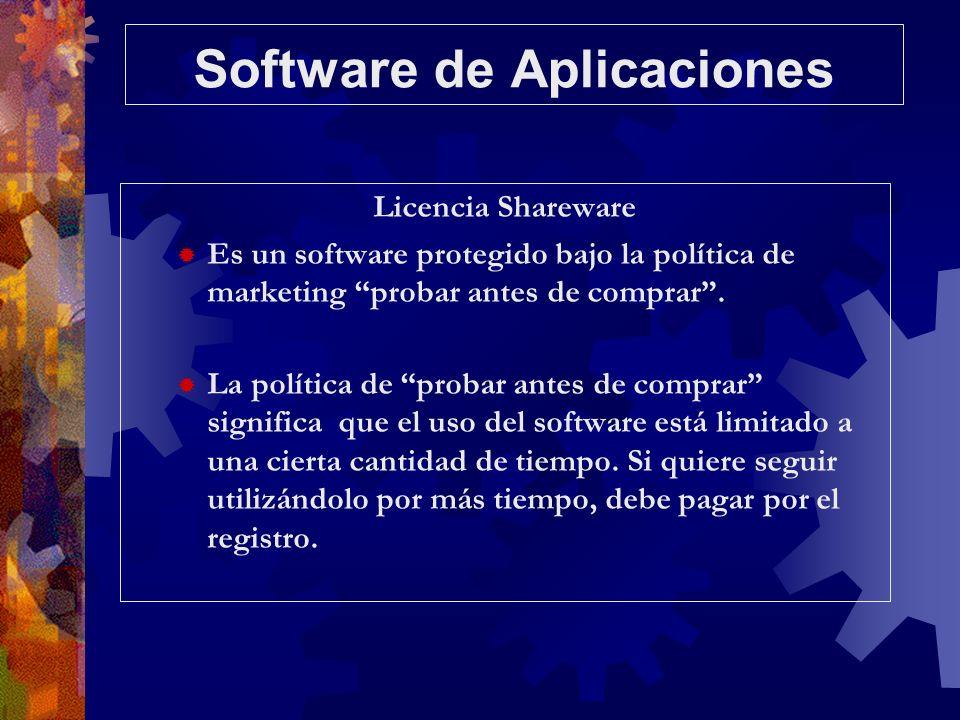 Software de Aplicaciones Licencia Shareware Es un software protegido bajo la política de marketing probar antes de comprar. La política de probar ante